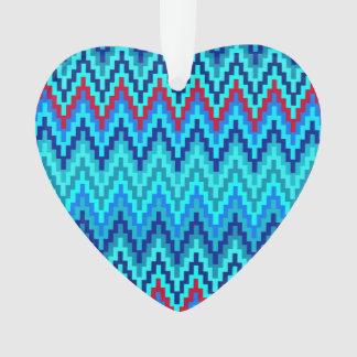 Blue Ikat Chevron Geometric Zig Zag Stripe Pattern Ornament