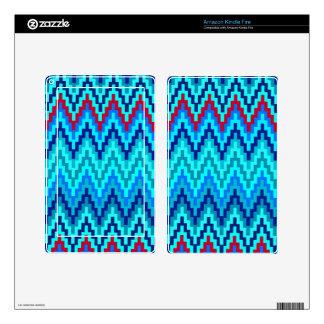 Blue Ikat Chevron Geometric Zig Zag Stripe Pattern Decal For Kindle Fire