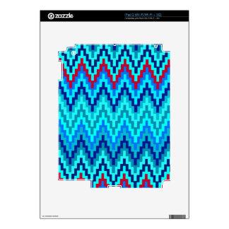 Blue Ikat Chevron Geometric Zig Zag Stripe Pattern Skin For iPad 2
