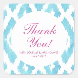 Blue Ikat Thank You Square Sticker