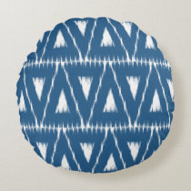 blue ikat triangles pattern pillow