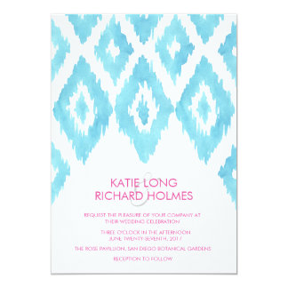 Blue Ikat Wedding Card