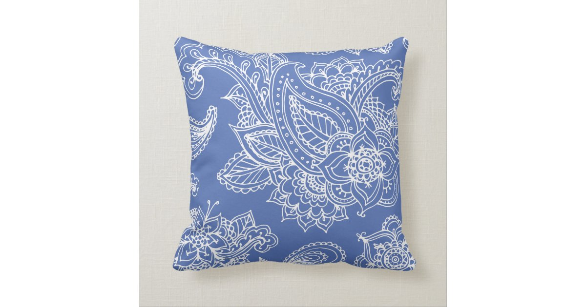 Blue Illustrated Bohemian Paisley Henna Throw Pillow Zazzle