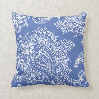 Blue Illustrated Bohemian Paisley Henna Throw Pillow