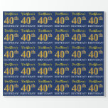 """[ Thumbnail: Blue, Imitation Gold Look """"40th Birthday"""" Wrapping Paper ]"""