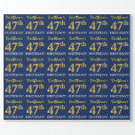 """[ Thumbnail: Blue, Imitation Gold Look """"47th Birthday"""" Wrapping Paper ]"""