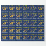"""[ Thumbnail: Blue, Imitation Gold Look """"50th Birthday"""" Wrapping Paper ]"""