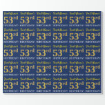 """[ Thumbnail: Blue, Imitation Gold Look """"53rd Birthday"""" Wrapping Paper ]"""