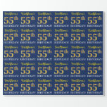 """[ Thumbnail: Blue, Imitation Gold Look """"55th Birthday"""" Wrapping Paper ]"""