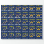 """[ Thumbnail: Blue, Imitation Gold Look """"56th Birthday"""" Wrapping Paper ]"""