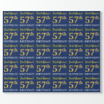 "[ Thumbnail: Blue, Imitation Gold Look ""57th Birthday"" Wrapping Paper ]"
