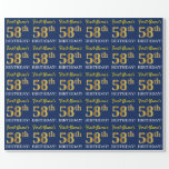 "[ Thumbnail: Blue, Imitation Gold Look ""58th Birthday"" Wrapping Paper ]"