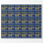"[ Thumbnail: Blue, Imitation Gold Look ""60th Birthday"" Wrapping Paper ]"