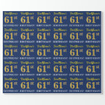 "[ Thumbnail: Blue, Imitation Gold Look ""61st Birthday"" Wrapping Paper ]"