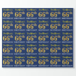 "[ Thumbnail: Blue, Imitation Gold Look ""66th Birthday"" Wrapping Paper ]"