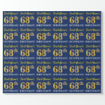"[ Thumbnail: Blue, Imitation Gold Look ""68th Birthday"" Wrapping Paper ]"