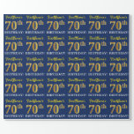 "[ Thumbnail: Blue, Imitation Gold Look ""70th Birthday"" Wrapping Paper ]"
