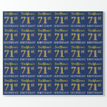 "[ Thumbnail: Blue, Imitation Gold Look ""71st Birthday"" Wrapping Paper ]"