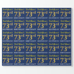 "[ Thumbnail: Blue, Imitation Gold Look ""73rd Birthday"" Wrapping Paper ]"