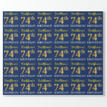 "[ Thumbnail: Blue, Imitation Gold Look ""74th Birthday"" Wrapping Paper ]"