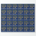 "[ Thumbnail: Blue, Imitation Gold Look ""75th Birthday"" Wrapping Paper ]"