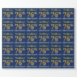 "[ Thumbnail: Blue, Imitation Gold Look ""76th Birthday"" Wrapping Paper ]"