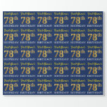 "[ Thumbnail: Blue, Imitation Gold Look ""78th Birthday"" Wrapping Paper ]"