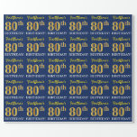 "[ Thumbnail: Blue, Imitation Gold Look ""80th Birthday"" Wrapping Paper ]"