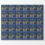 "[ Thumbnail: Blue, Imitation Gold Look ""84th Birthday"" Wrapping Paper ]"