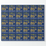 "[ Thumbnail: Blue, Imitation Gold Look ""86th Birthday"" Wrapping Paper ]"