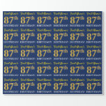 "[ Thumbnail: Blue, Imitation Gold Look ""87th Birthday"" Wrapping Paper ]"