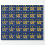 "[ Thumbnail: Blue, Imitation Gold Look ""88th Birthday"" Wrapping Paper ]"