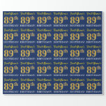 "[ Thumbnail: Blue, Imitation Gold Look ""89th Birthday"" Wrapping Paper ]"