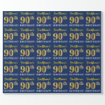 "[ Thumbnail: Blue, Imitation Gold Look ""90th Birthday"" Wrapping Paper ]"