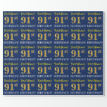 "[ Thumbnail: Blue, Imitation Gold Look ""91st Birthday"" Wrapping Paper ]"