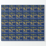 "[ Thumbnail: Blue, Imitation Gold Look ""92nd Birthday"" Wrapping Paper ]"