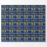 "[ Thumbnail: Blue, Imitation Gold Look ""93rd Birthday"" Wrapping Paper ]"