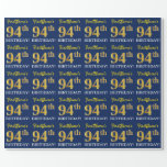 "[ Thumbnail: Blue, Imitation Gold Look ""94th Birthday"" Wrapping Paper ]"
