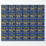 "[ Thumbnail: Blue, Imitation Gold Look ""96th Birthday"" Wrapping Paper ]"
