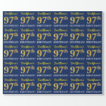 "[ Thumbnail: Blue, Imitation Gold Look ""97th Birthday"" Wrapping Paper ]"