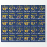 "[ Thumbnail: Blue, Imitation Gold Look ""98th Birthday"" Wrapping Paper ]"