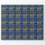 "[ Thumbnail: Blue, Imitation Gold Look ""99th Birthday"" Wrapping Paper ]"
