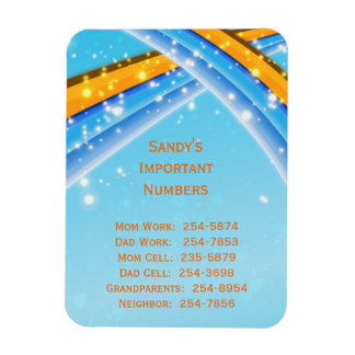 Blue Important Phone Numbers Magnet