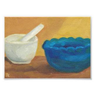 Blue Impressionist Original Oil Mortar Pestle Photo Print