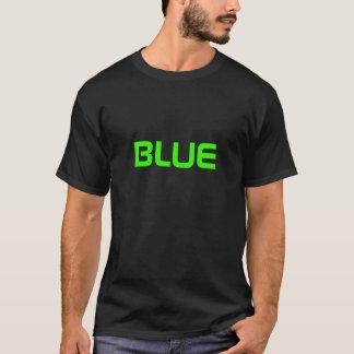 """BLUE"" in green colour T-Shirt"