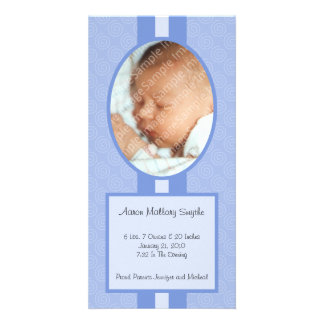 Blue In Style New Baby Photo Card