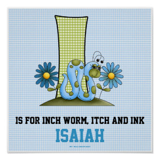 """Blue Inch Worm Monogram """"I"""" Baby Room Poster"""