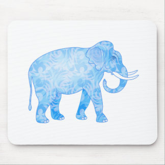 Blue Indian Elephant with Fancy Pattern Mouse Pad