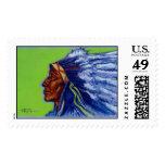 Blue Indian   Postage