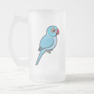 Blue Indian Ringneck Frosted Glass Beer Mug